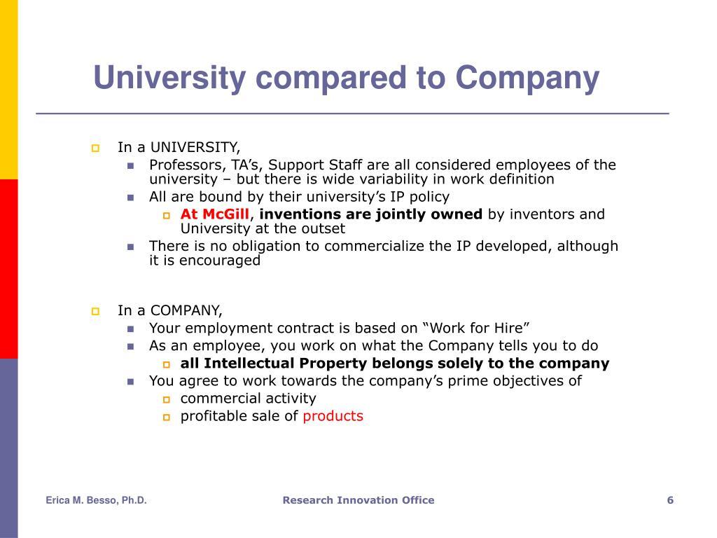 University compared to Company