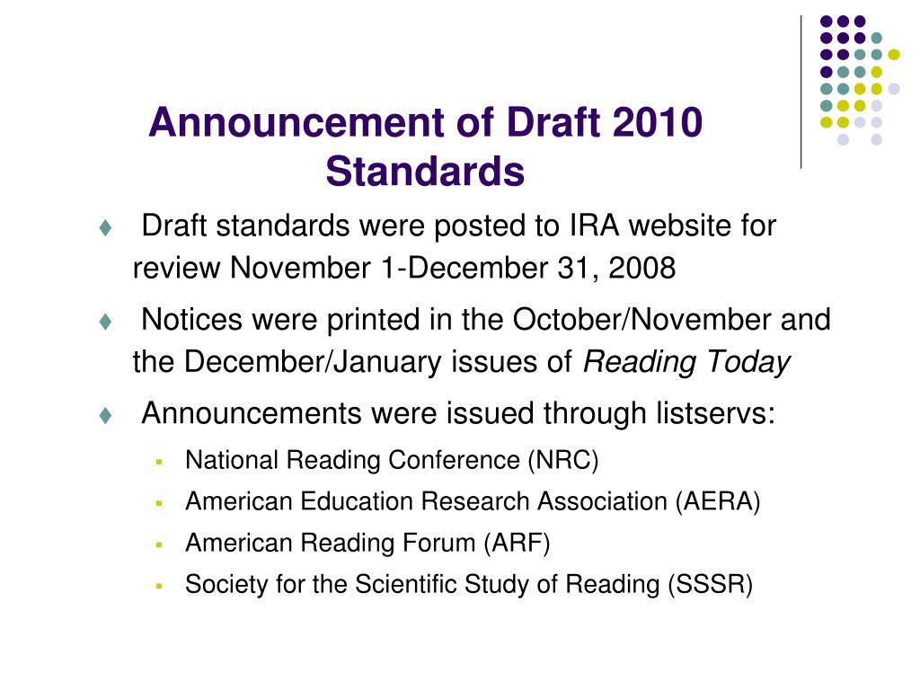 Announcement of Draft 2010 Standards