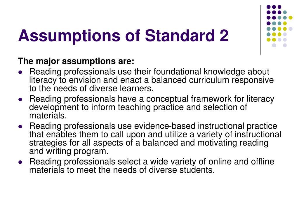Assumptions of Standard 2