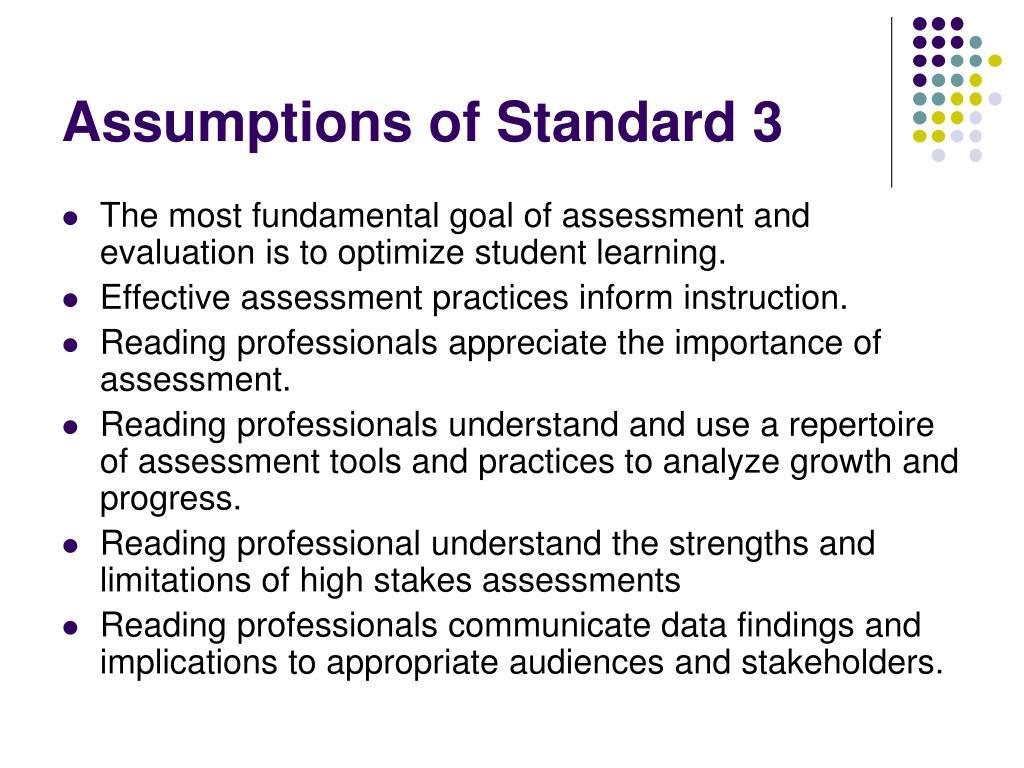 Assumptions of Standard 3