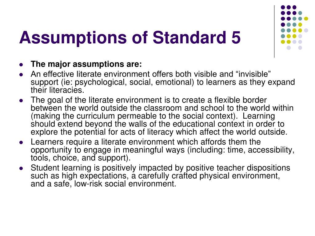 Assumptions of Standard 5