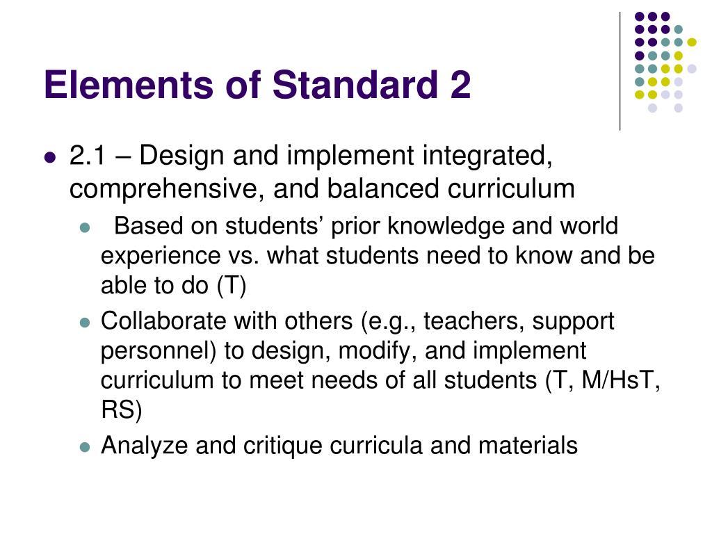 Elements of Standard 2