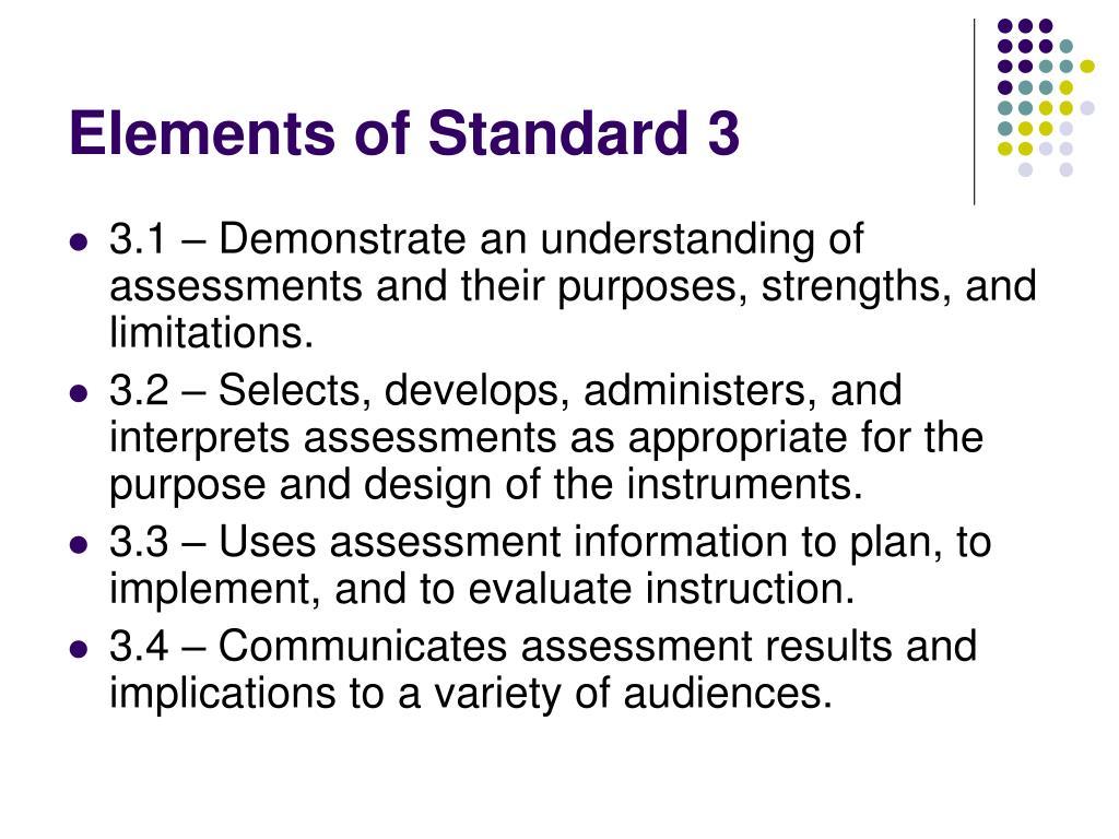 Elements of Standard 3