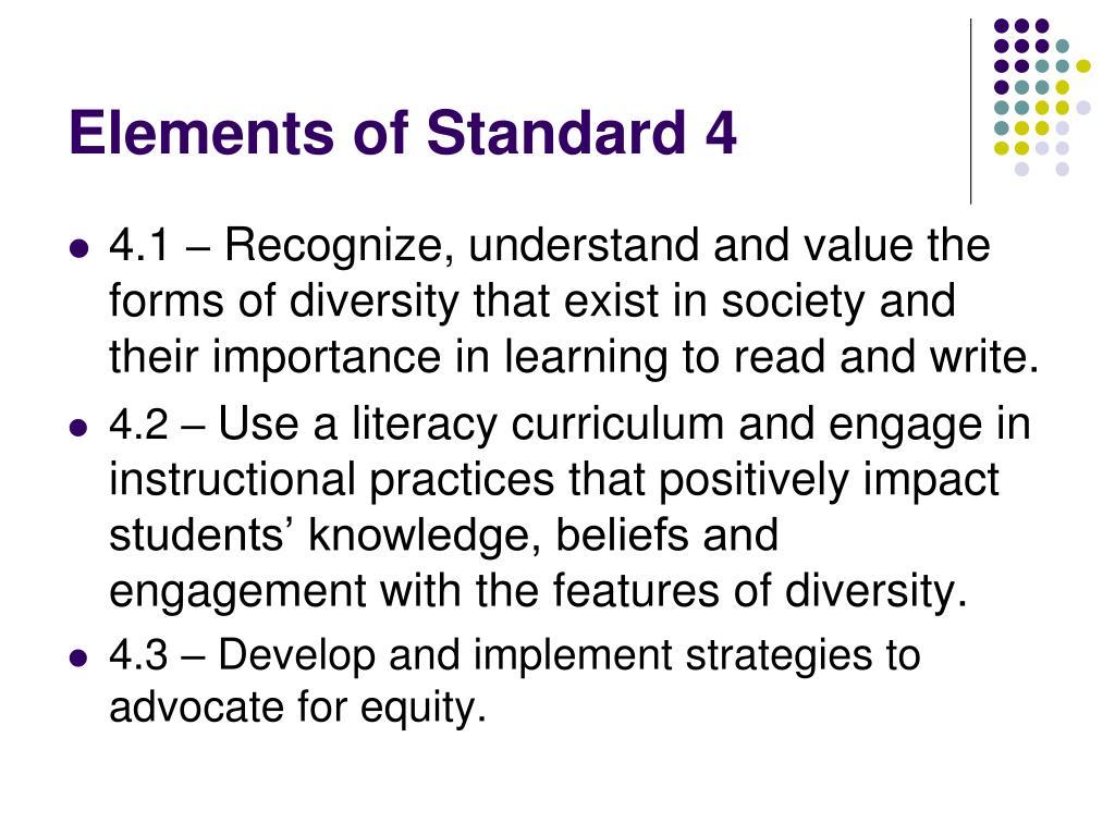 Elements of Standard 4
