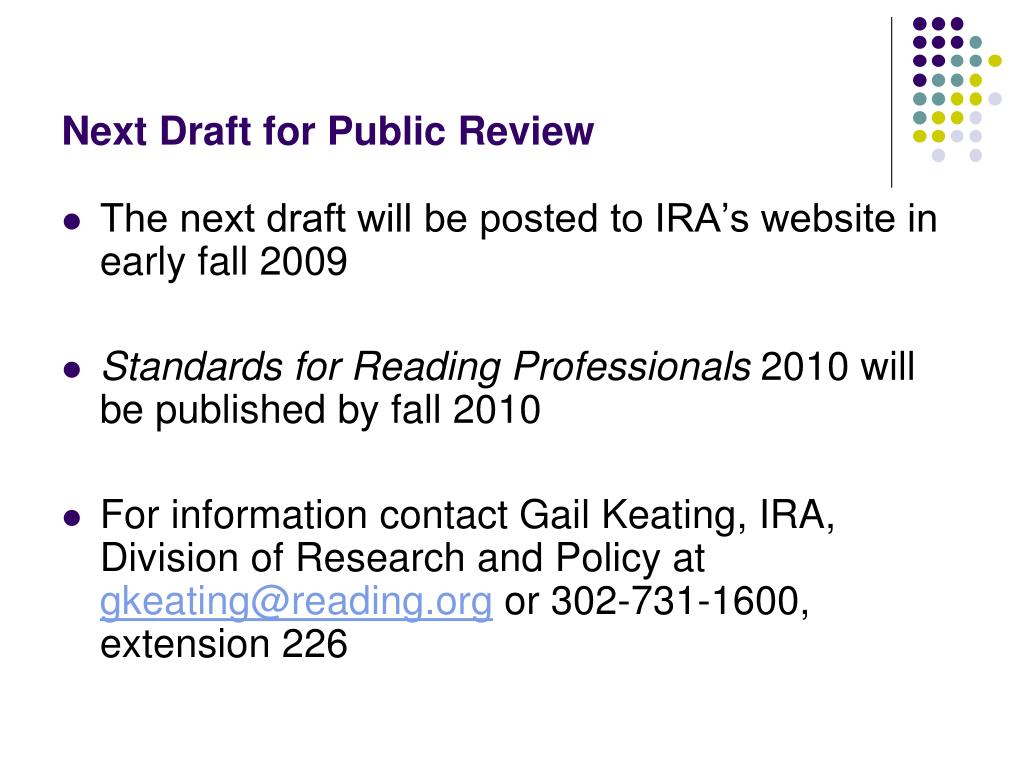 Next Draft for Public Review