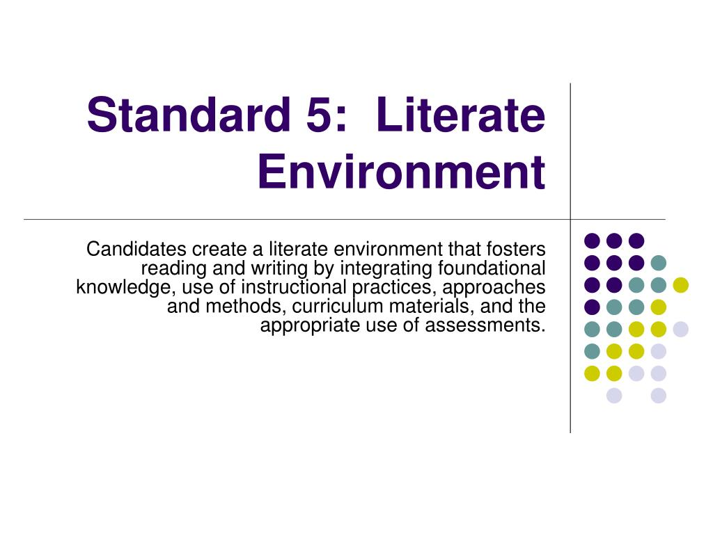 Standard 5:  Literate Environment