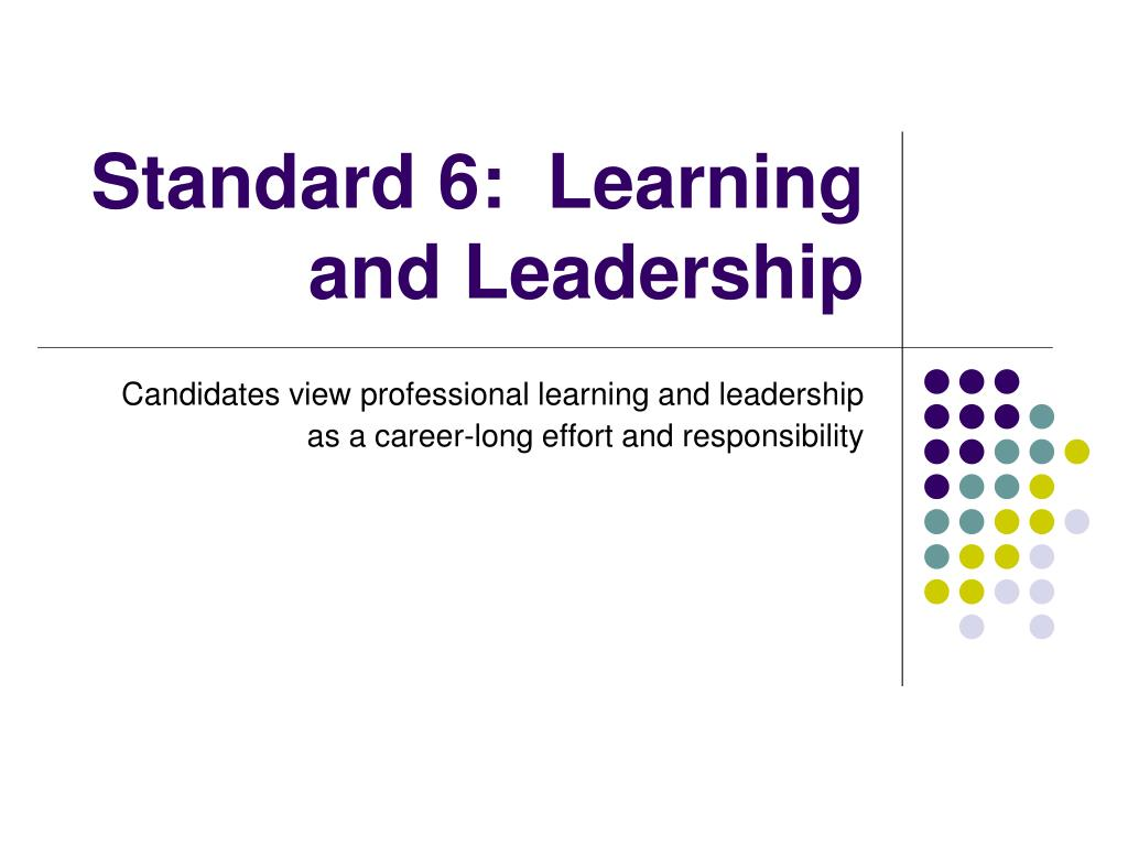 Standard 6:  Learning and Leadership