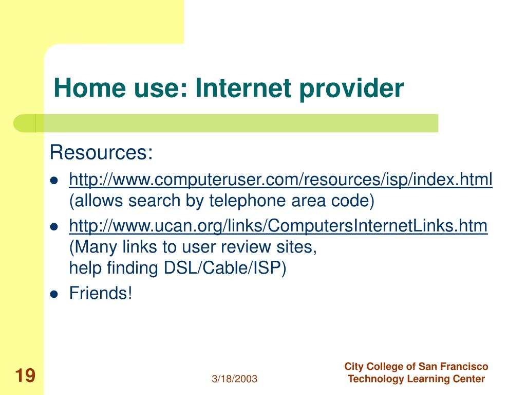 Home use: Internet provider