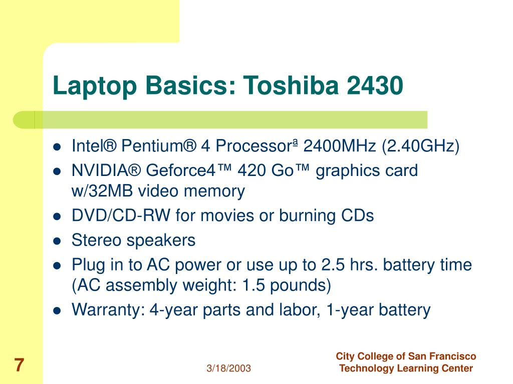 Laptop Basics: Toshiba 2430