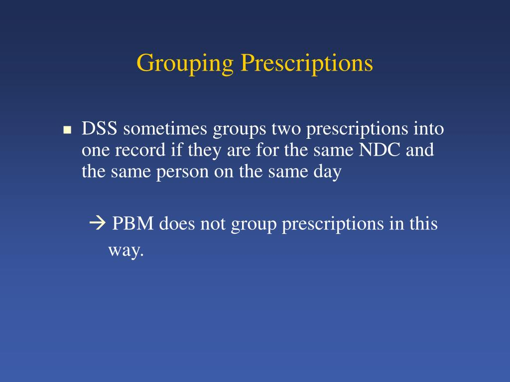 Grouping Prescriptions