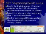 nxt programming details cont d
