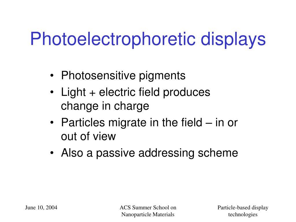 Photoelectrophoretic displays