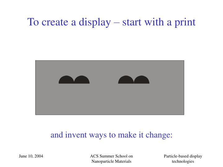 To create a display start with a print