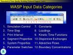 wasp input data categories