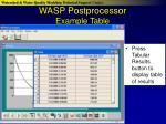 wasp postprocessor example table