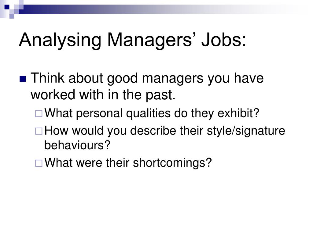 Analysing Managers' Jobs: