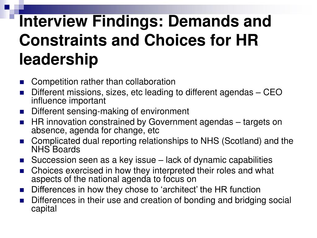 Interview Findings: Demands and Constraints and Choices for HR leadership