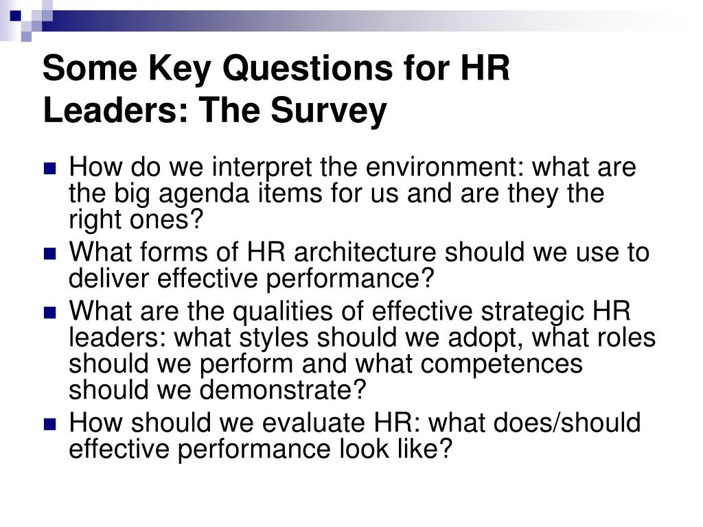 Some Key Questions for HR Leaders: The Survey