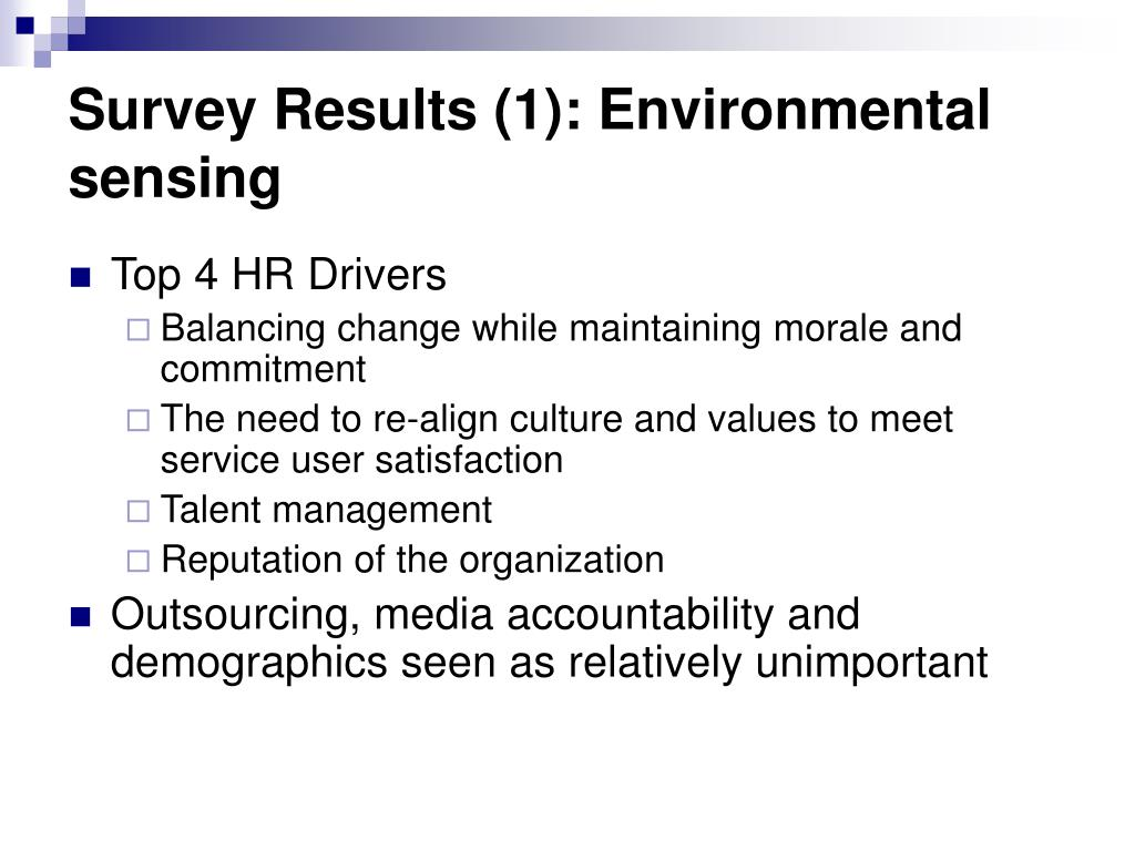Survey Results (1): Environmental sensing