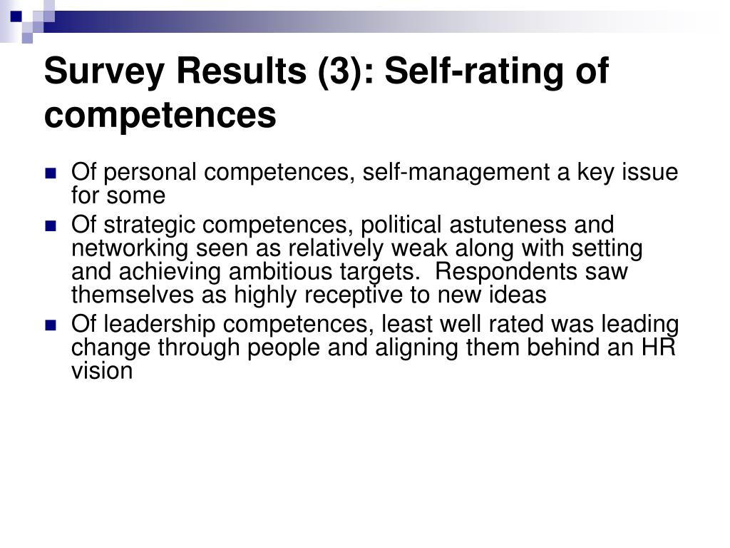 Survey Results (3): Self-rating of competences