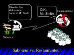 saboteur vs restauranteur