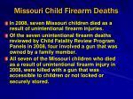missouri child firearm deaths