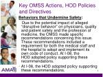 key omss actions hod policies and directives