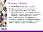 summary of actions