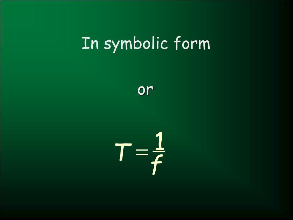 In symbolic form