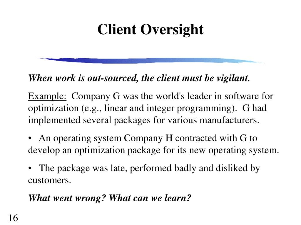Client Oversight