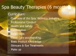 spa beauty therapies 6 months