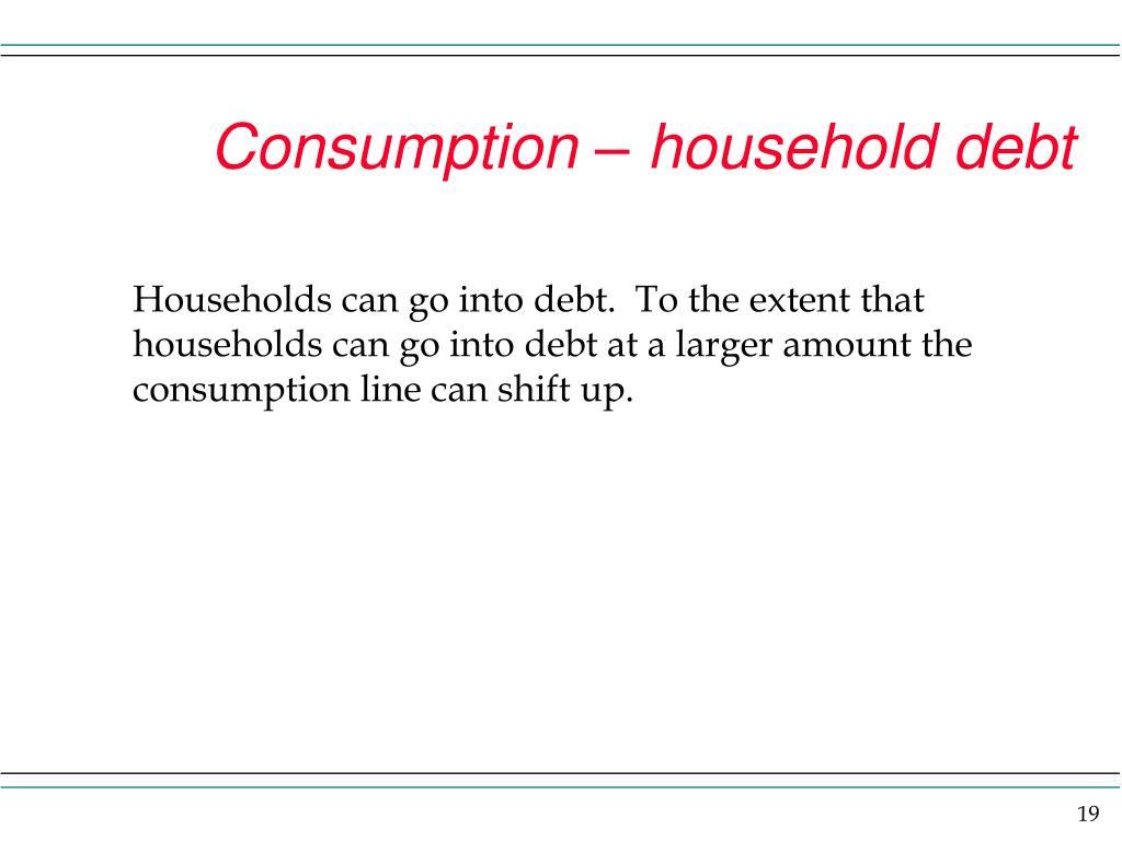 Consumption – household debt