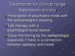 treatments for clinical range depression anxiety