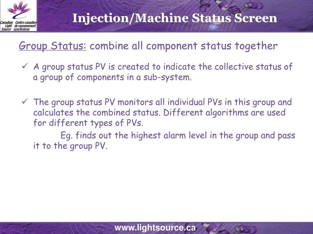 Injection/Machine Status Screen