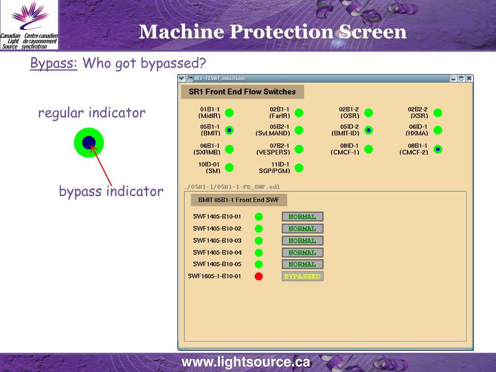 Machine Protection Screen