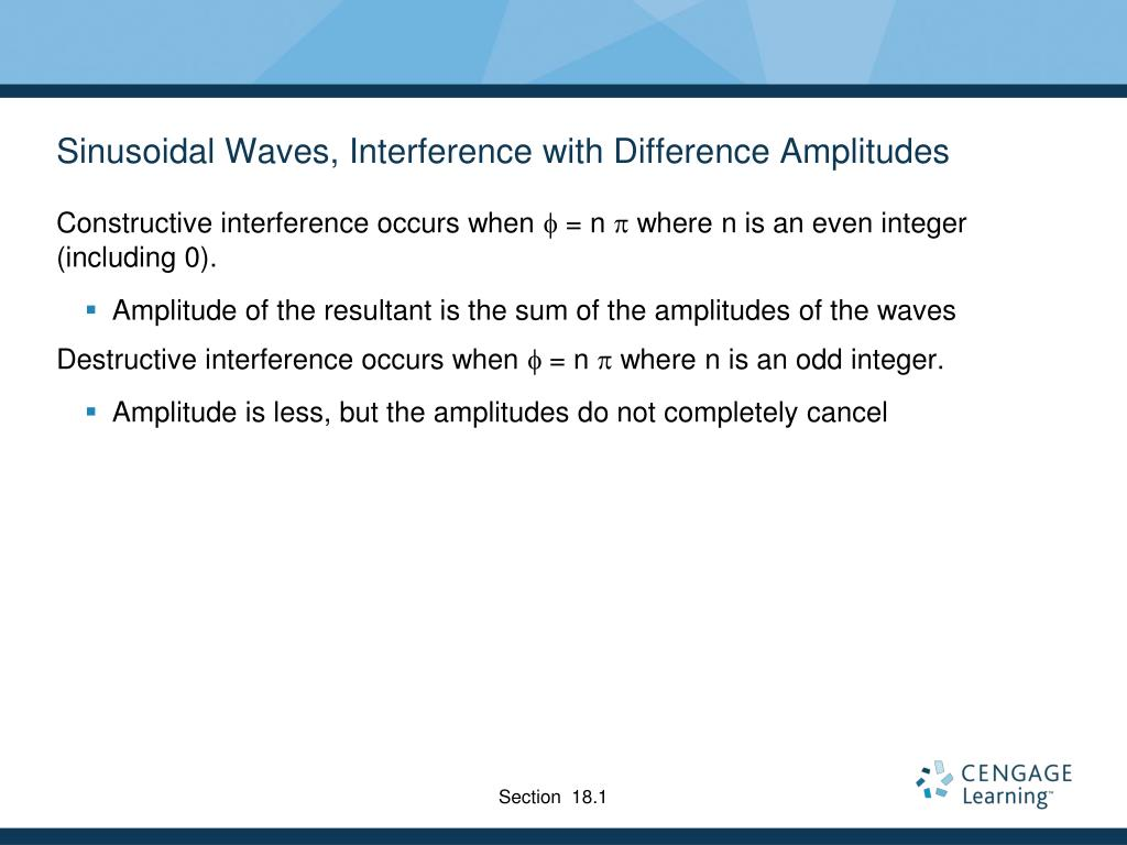 Sinusoidal Waves, Interference with Difference Amplitudes