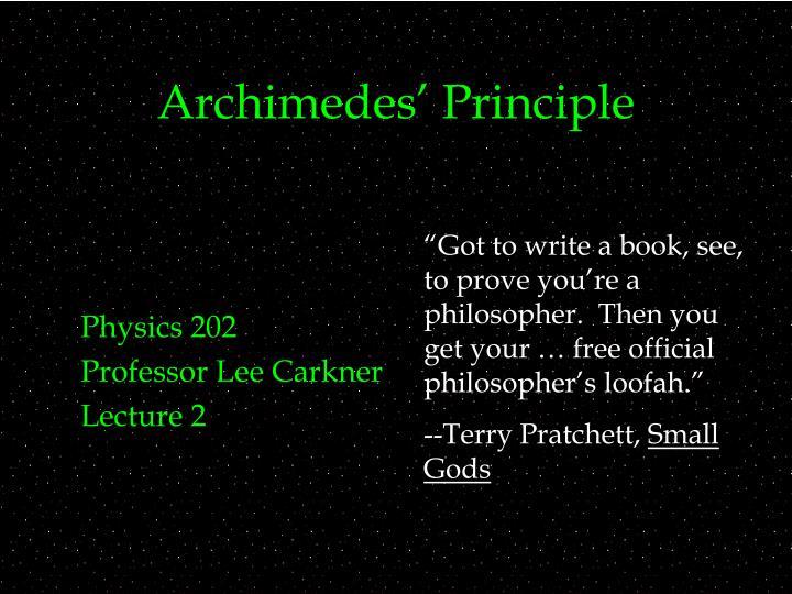 archimedes principle n.