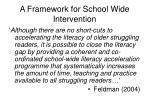 a framework for school wide intervention