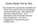 claims made toe by toe