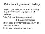 paired reading research findings