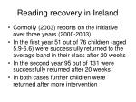 reading recovery in ireland