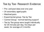 toe by toe research evidence