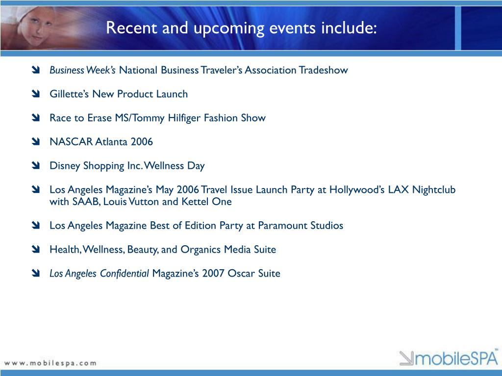 Recent and upcoming events include: