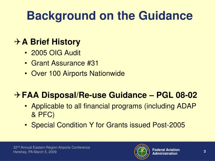 Background on the guidance