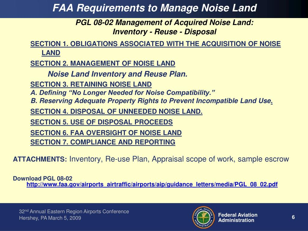 FAA Requirements to Manage Noise Land