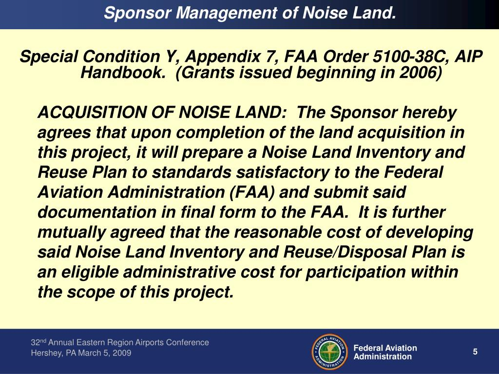 Sponsor Management of Noise Land.
