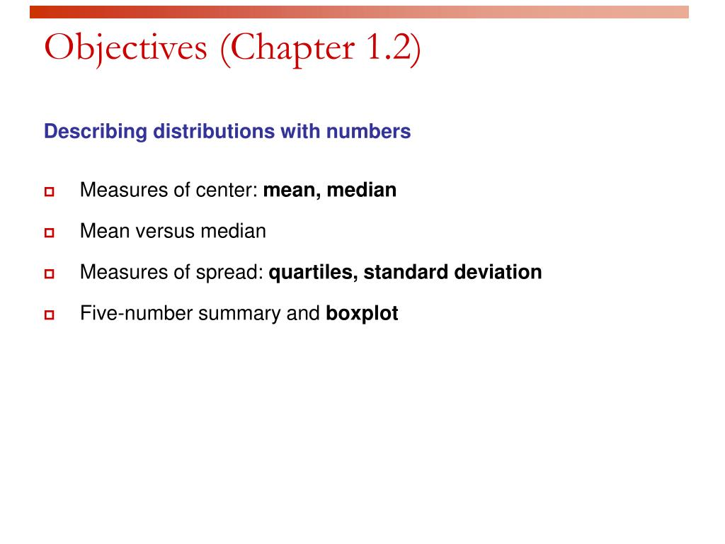 Objectives (Chapter 1.2)
