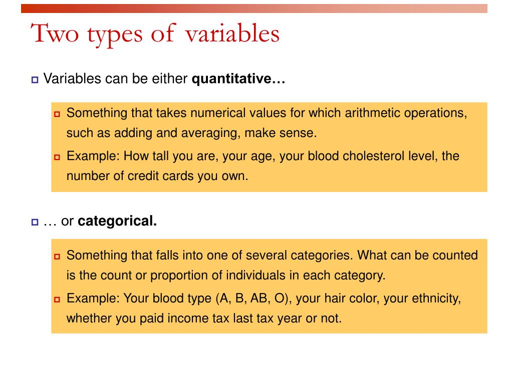 Two types of variables