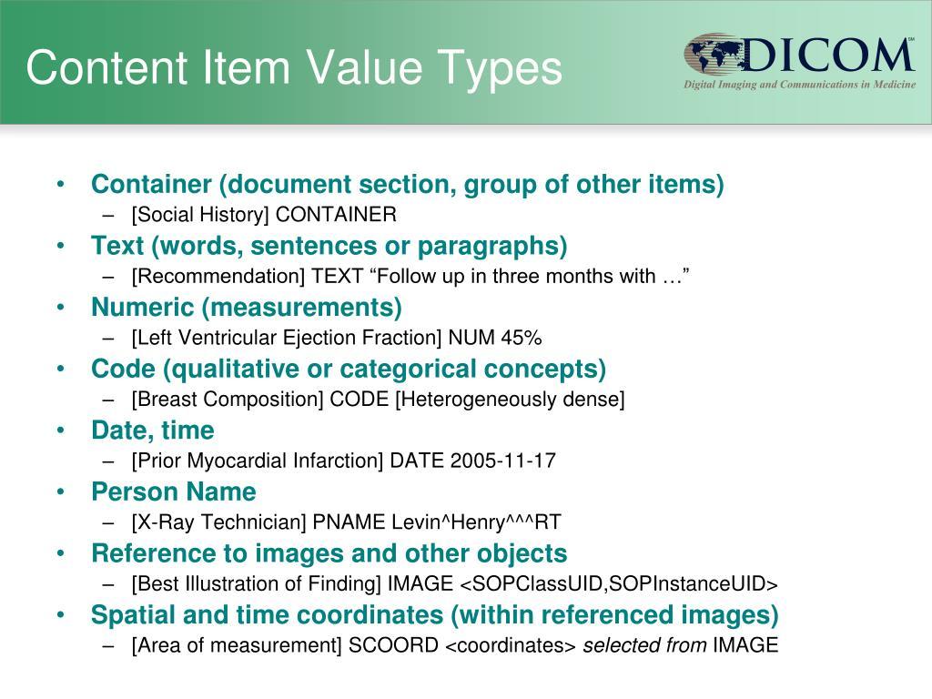 Content Item Value Types