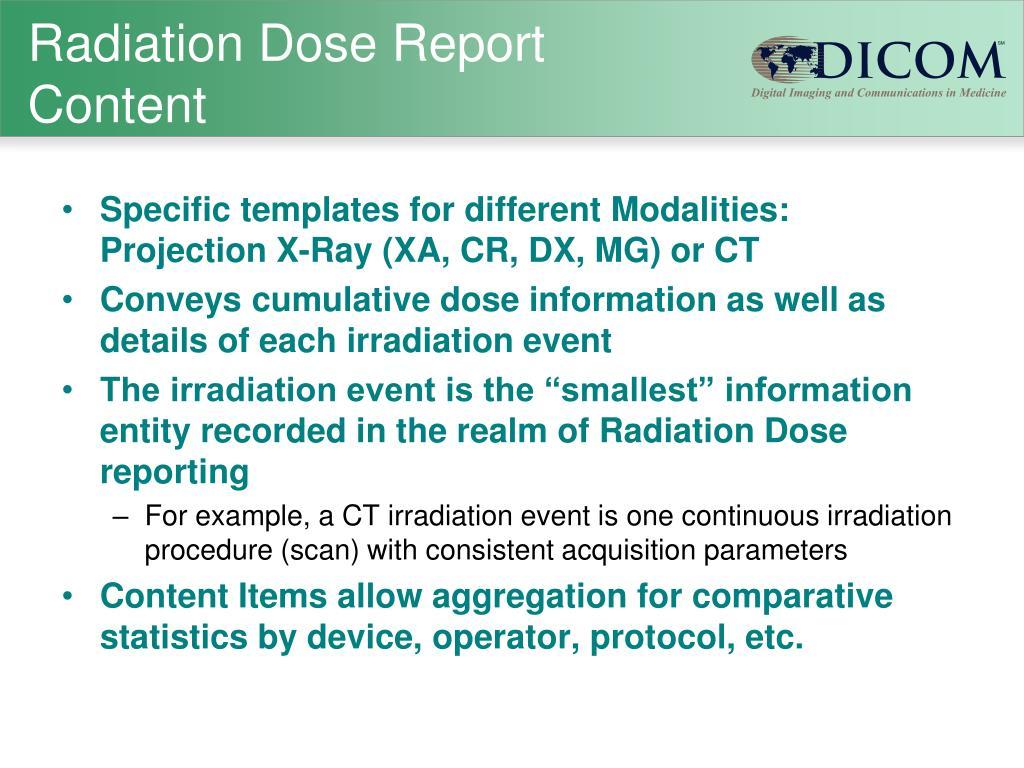 Radiation Dose Report Content